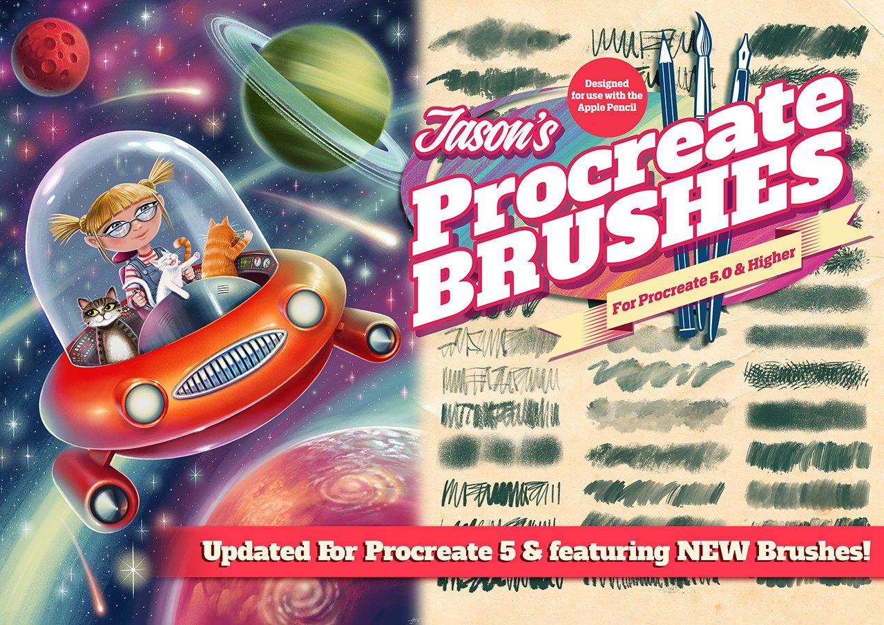 [淘宝购买] 潮流粗糙水墨颗粒线条绘画画笔Procreate笔刷素材 Jason's Procreate Brushes插图