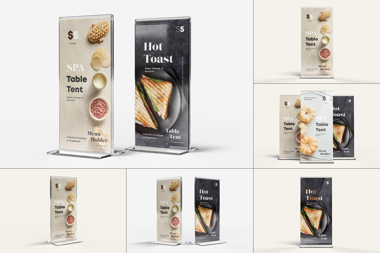 5款立式亚克力菜单海报桌牌设计展示贴图样机 Menu Holder Mock-up插图