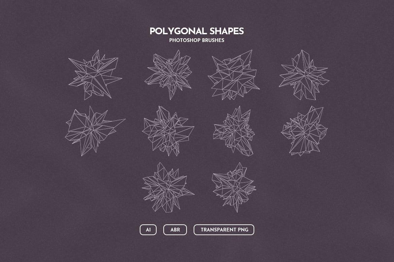 抽象科技未来线框多边形形状PS笔刷设计素材 Wireframe Polygonal Shapes Photoshop Brushes插图1