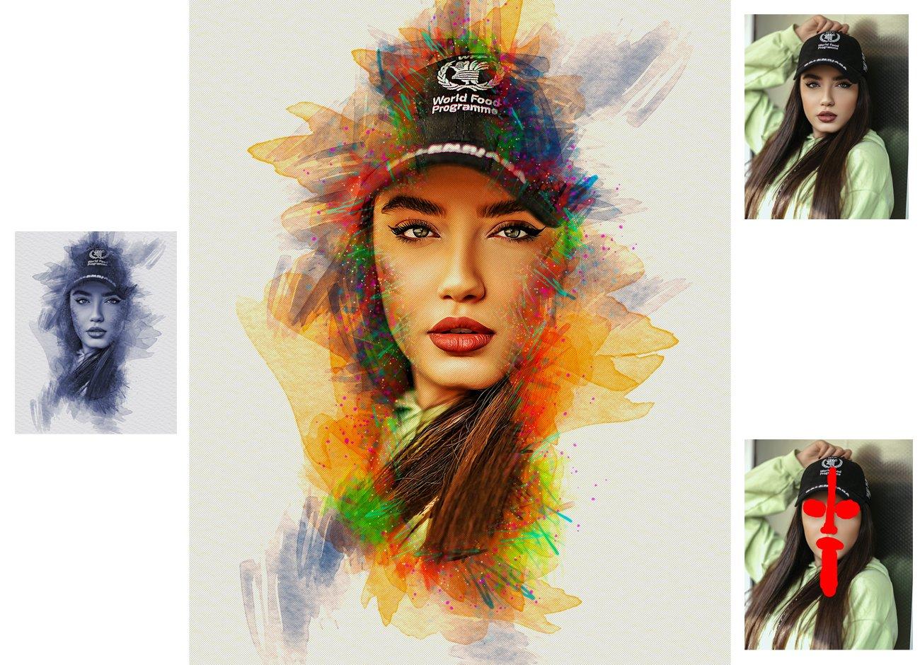 逼真水彩画效果照片处理特效PS动作模板 Watercolor Photoshop Action插图1