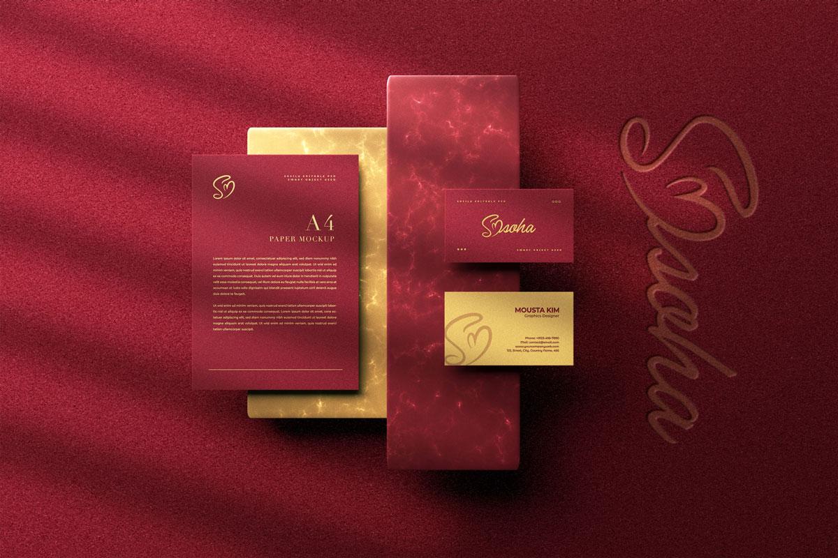 优雅商务名片卡片设计展示PSD样机模板 Elegant Business Card Mockup插图