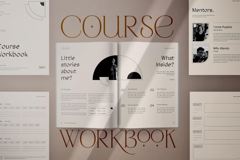 时尚简约杂志画册课程工作簿设计INDD模板素材 Course Workbook插图