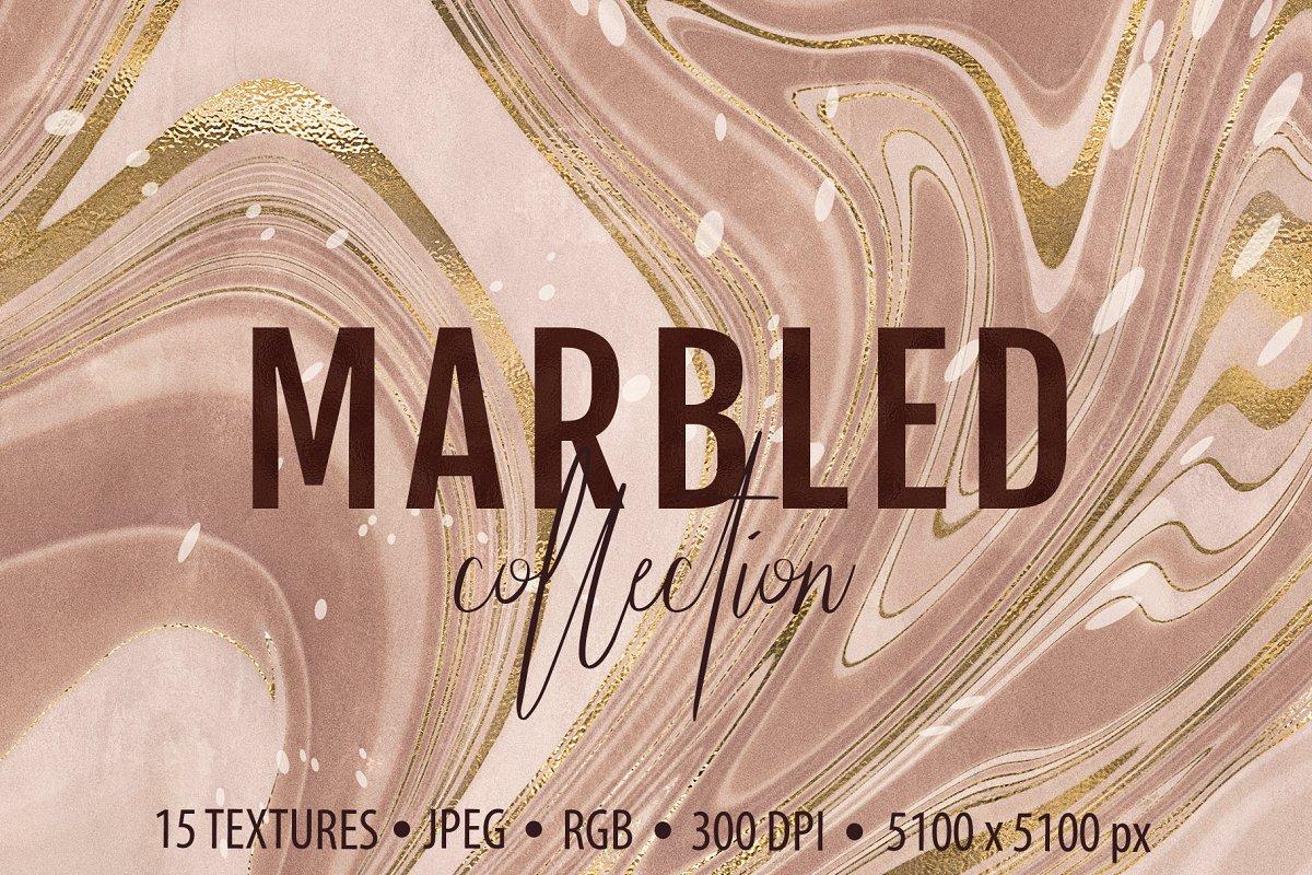 [淘宝购买] 15款抽象复古高清大理石金色箔纸纹理背景图片设计素材合集 Marbled Paper Texture Collection插图
