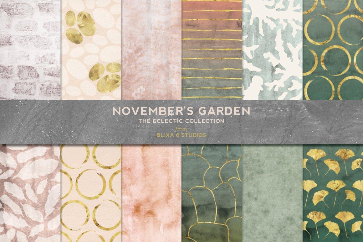 12款精致金线有机形状图片设计素材 Novembers Garden Golden Glimmer插图