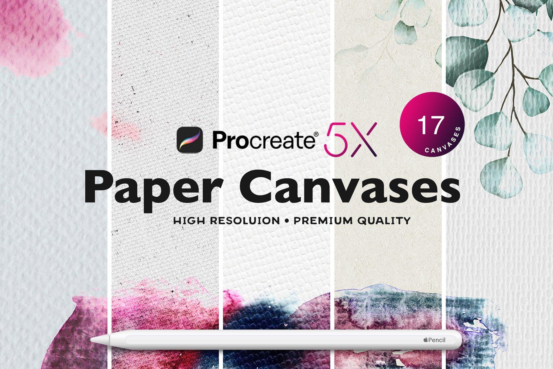 [单独购买] 17款逼真绘画画布背景Procreate纸纹理设计素材 Procreate Paper Texture Canvases插图