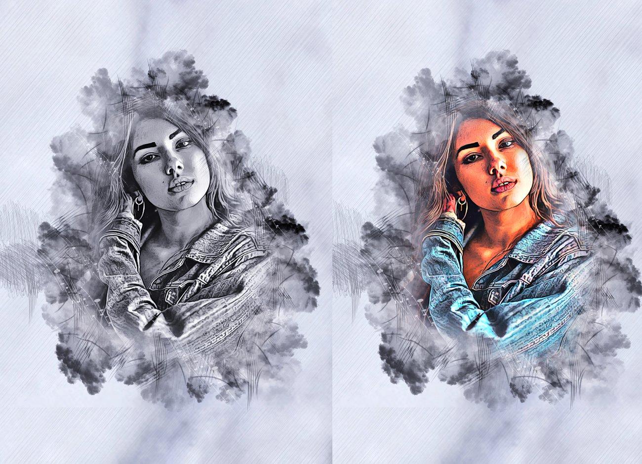 水墨素描效果照片处理特效PS动作模板 Ink Sketch Art Photoshop Action插图1