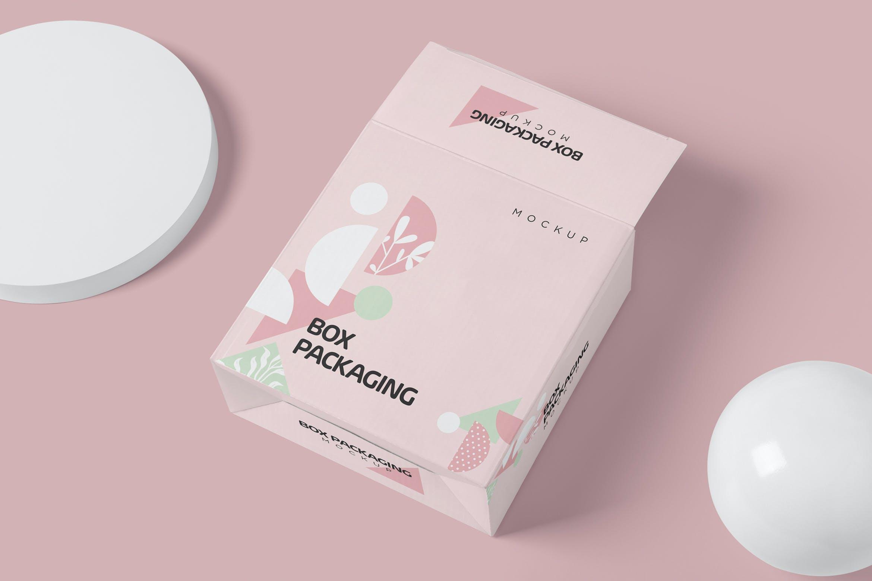 4款时尚产品包装纸盒外观设计PSD样机 Box Packaging Mockups插图