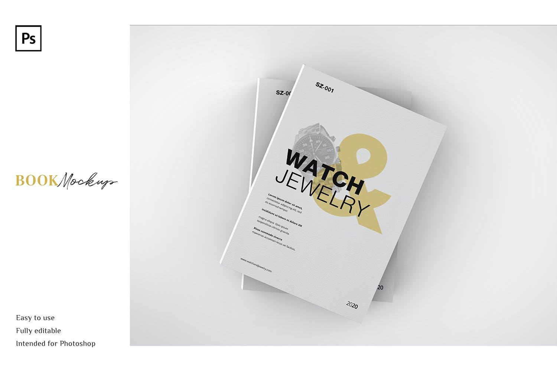 精装书封面设计PSD样机模板素材 Book Mockup插图