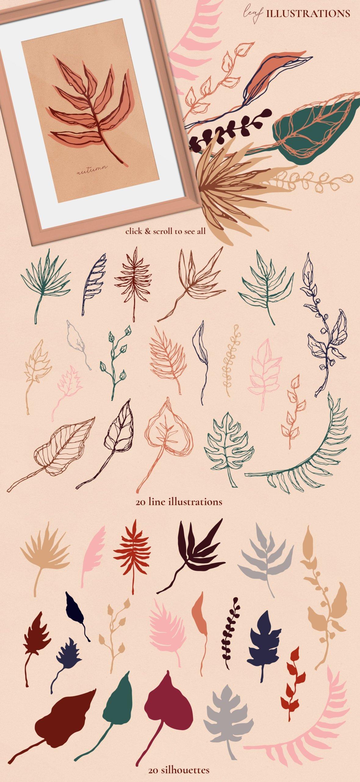 [单独购买] 现代优雅抽象花卉图形艺术线条金色箔纸设计套件 Abstract Line Art Design Kit插图9