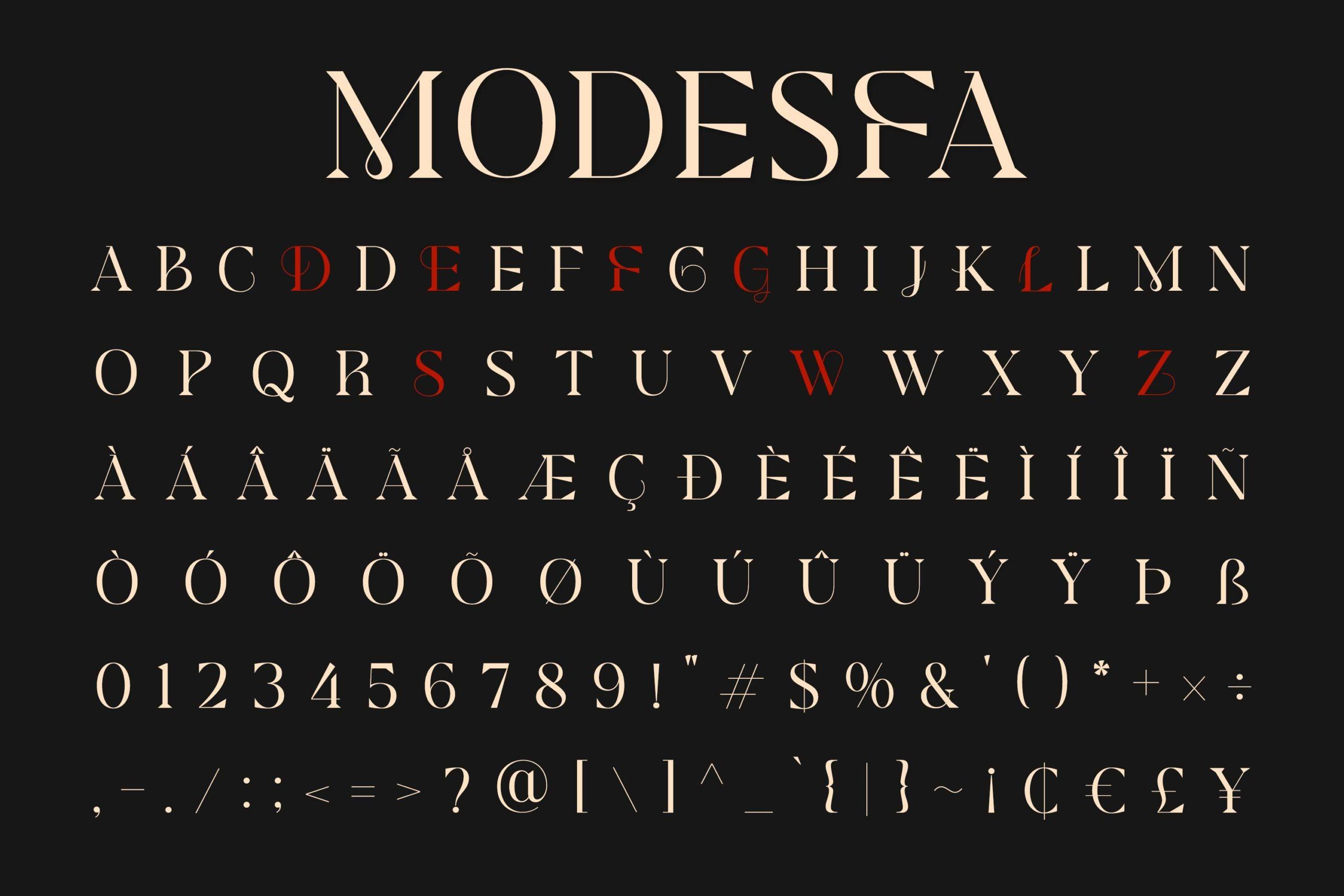 现代极简杂志画册标题徽标Logo设计衬线英文字体素材 Modesfa – Modern Display Serif插图9