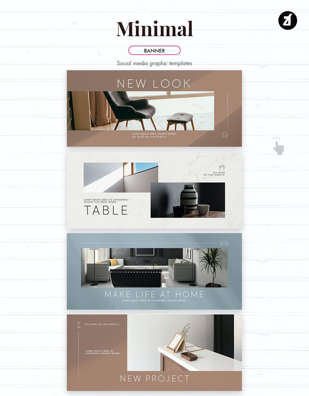 时尚家具设计作品集推广新媒体电商海报模板 Minimal Social Media Graphic Templates插图9