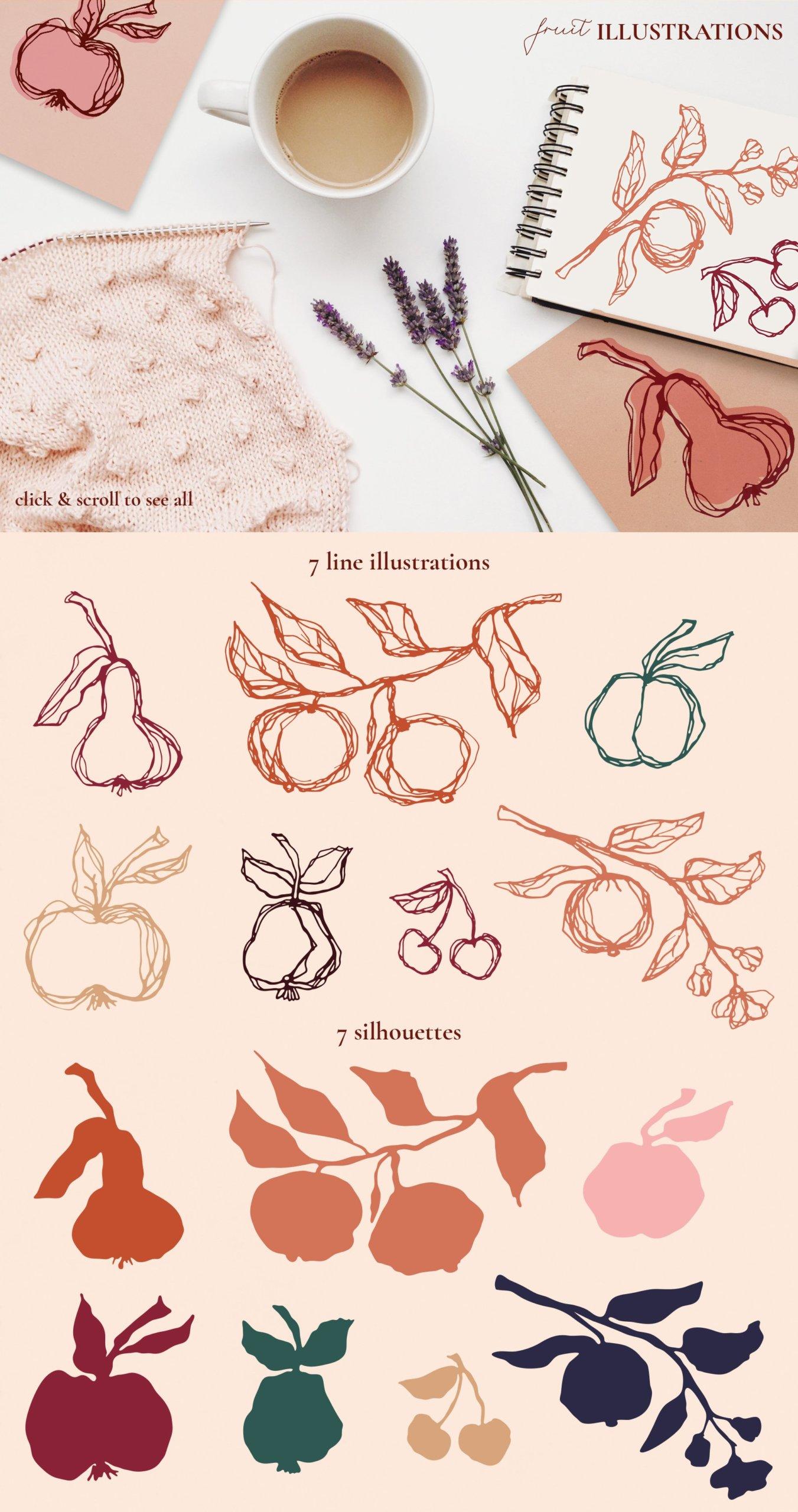 [单独购买] 现代优雅抽象花卉图形艺术线条金色箔纸设计套件 Abstract Line Art Design Kit插图10