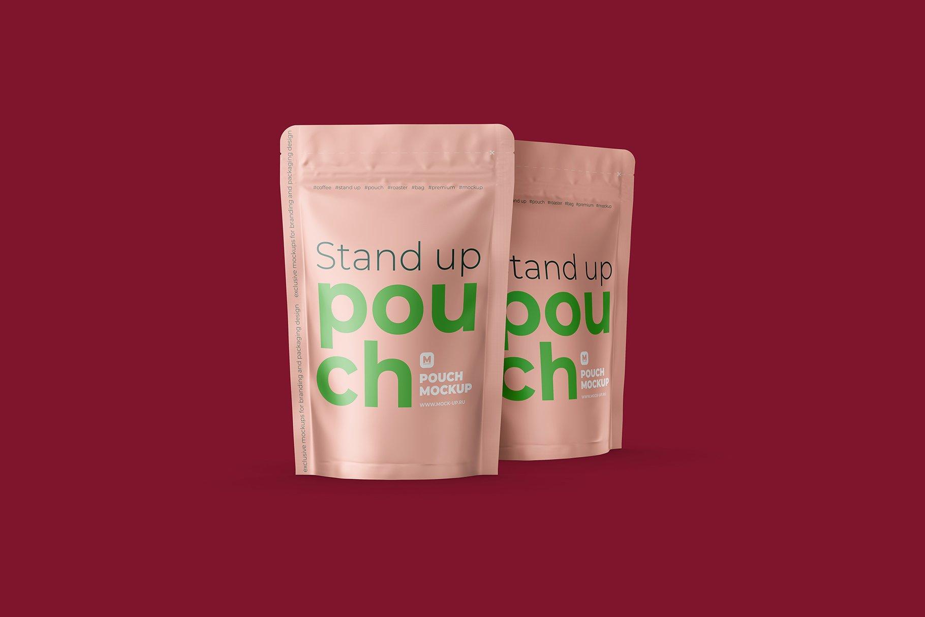 光泽立式食品自封袋设计PS贴图样机 Stand Up Pouch Front and Half Side插图10