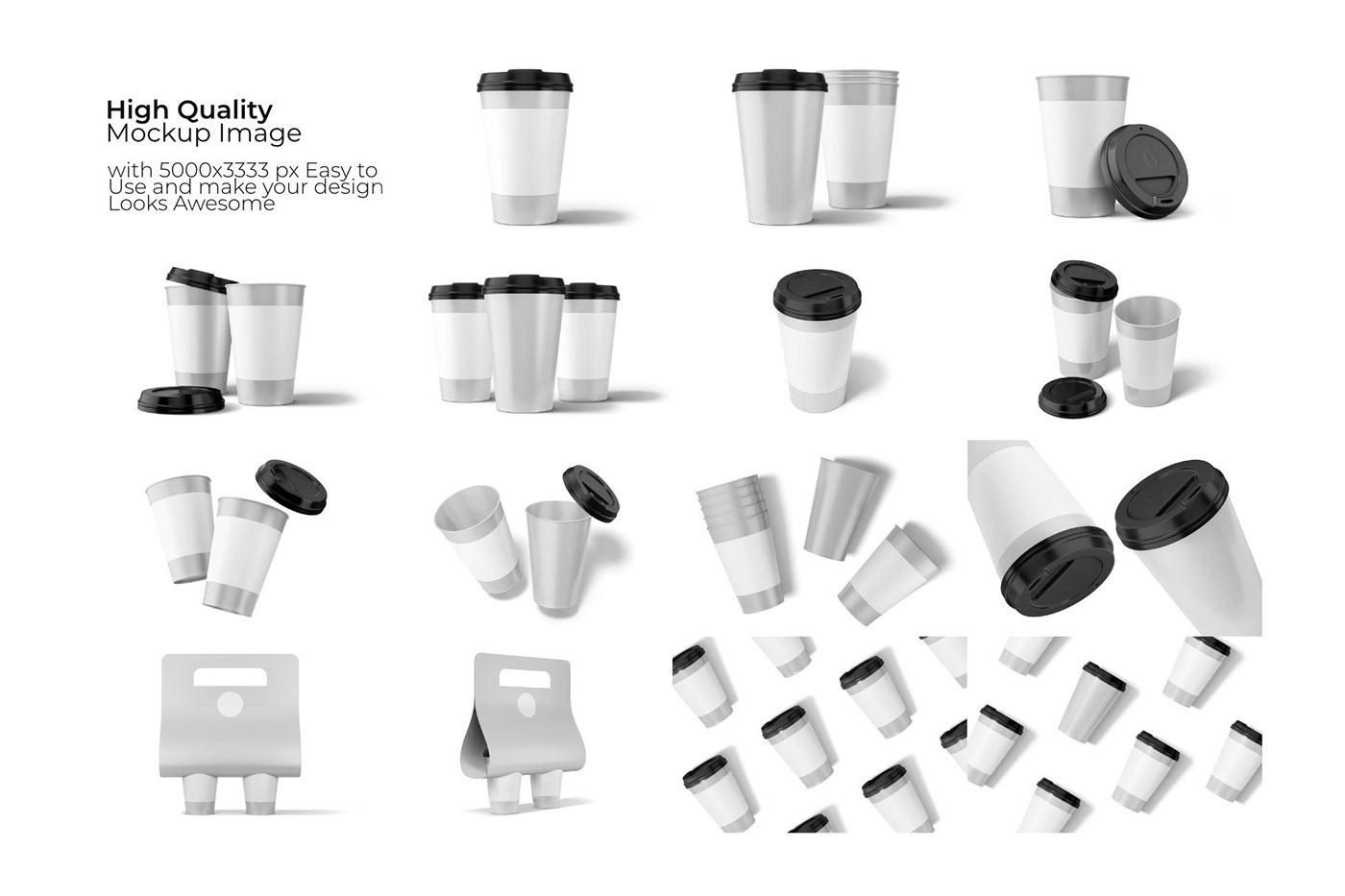 15款一次性外卖咖啡纸杯设计展示贴图样机模板 Take Away Paper Cup Mockup插图11