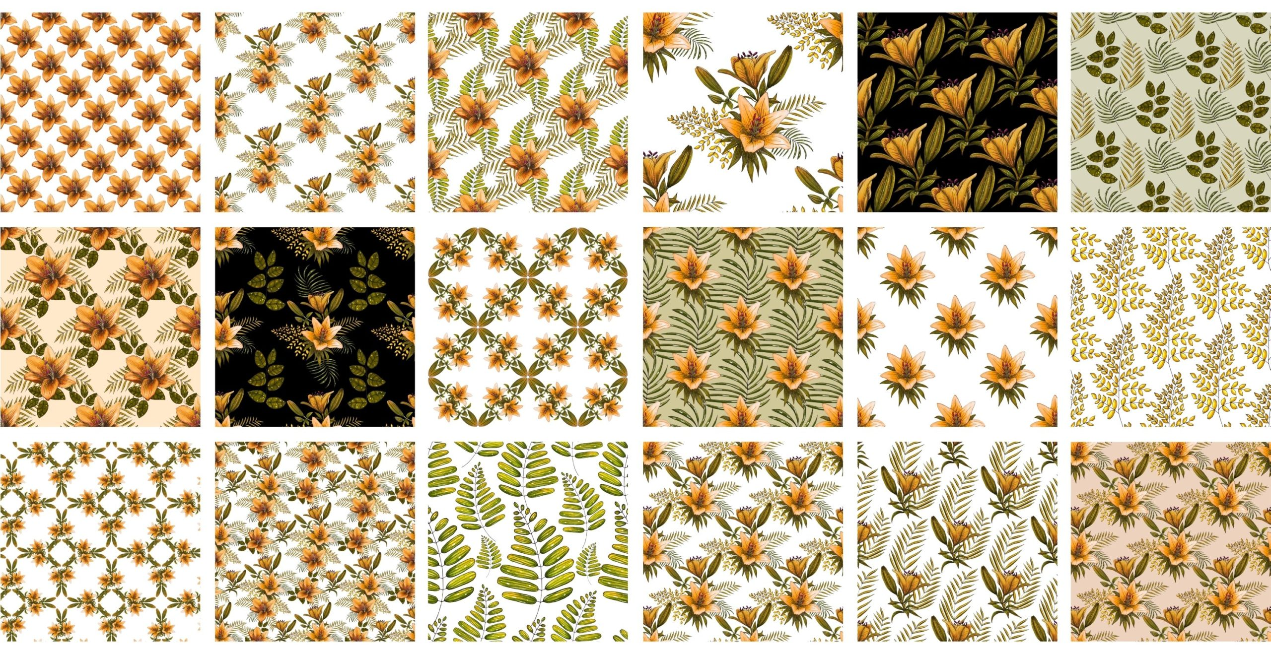 橙色无缝隙百合花手绘水彩画图片设计素材 Orange Lilies. Patterns and Postcards插图10