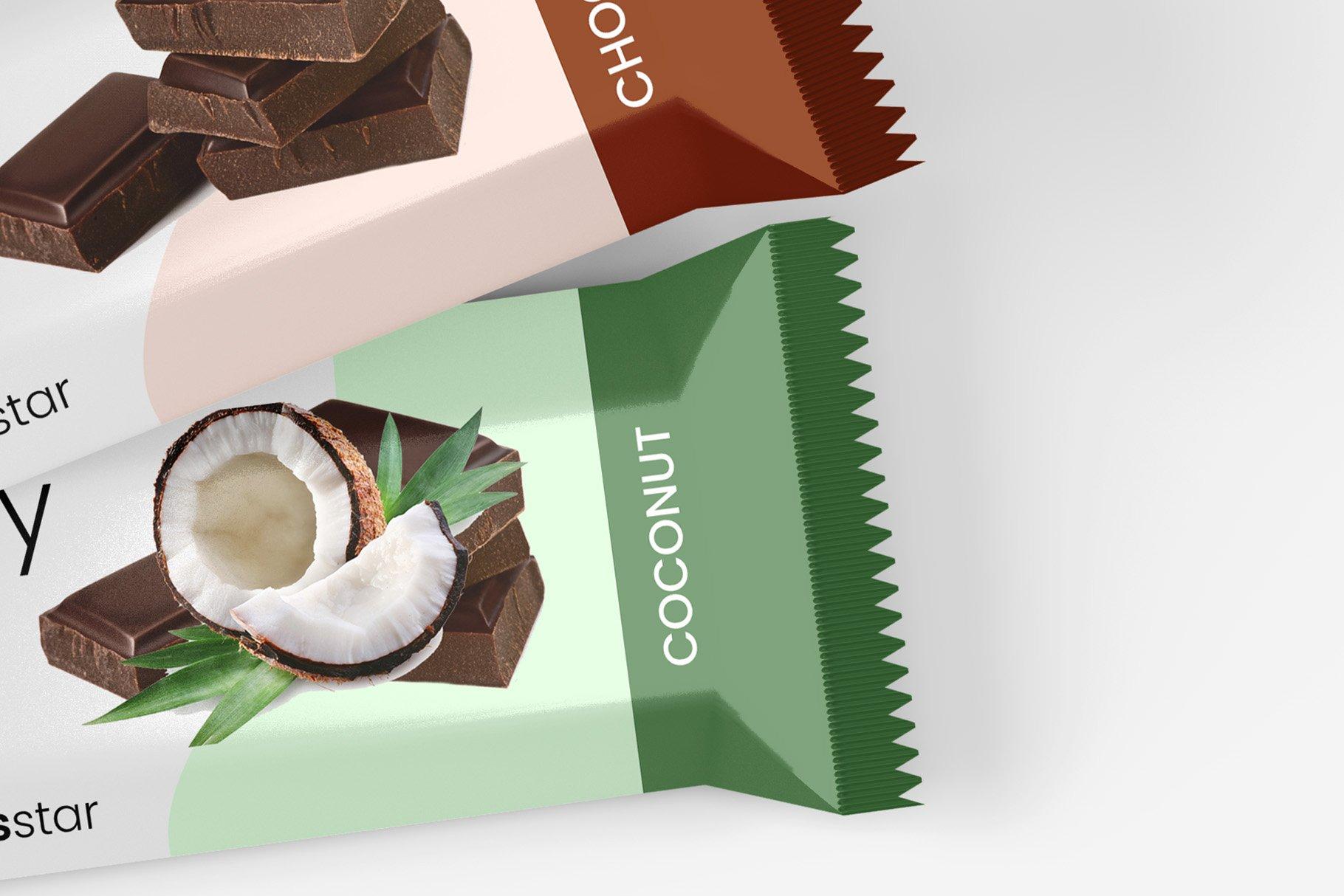 9款零食小吃塑料包装袋设计展示贴图样机 Snack Protein Bar Mockup – 9 Views插图11