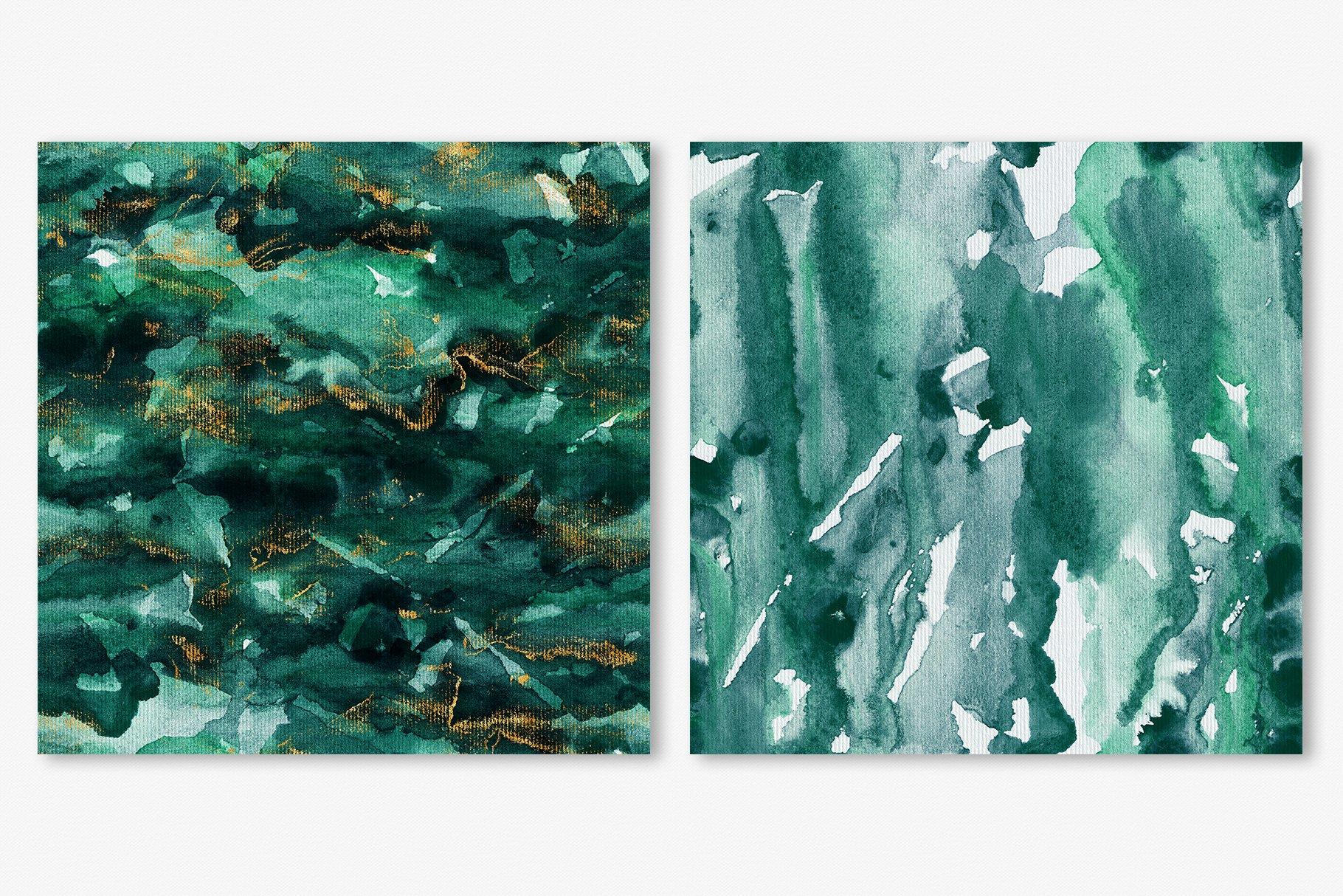 30款奢华翡翠墨绿流金水彩抽象艺术装饰背景底纹图片素材 Seamless Watercolor Backgrounds插图11