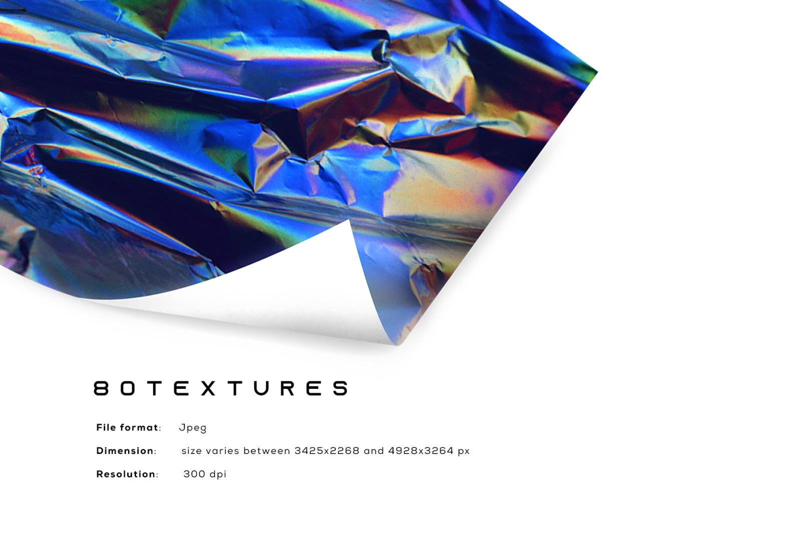 [淘宝购买] 80款潮流全息渐变虹彩金属箔纸纹理海报设计背景图片素材 Crumbled – 80 Foil Textures插图1