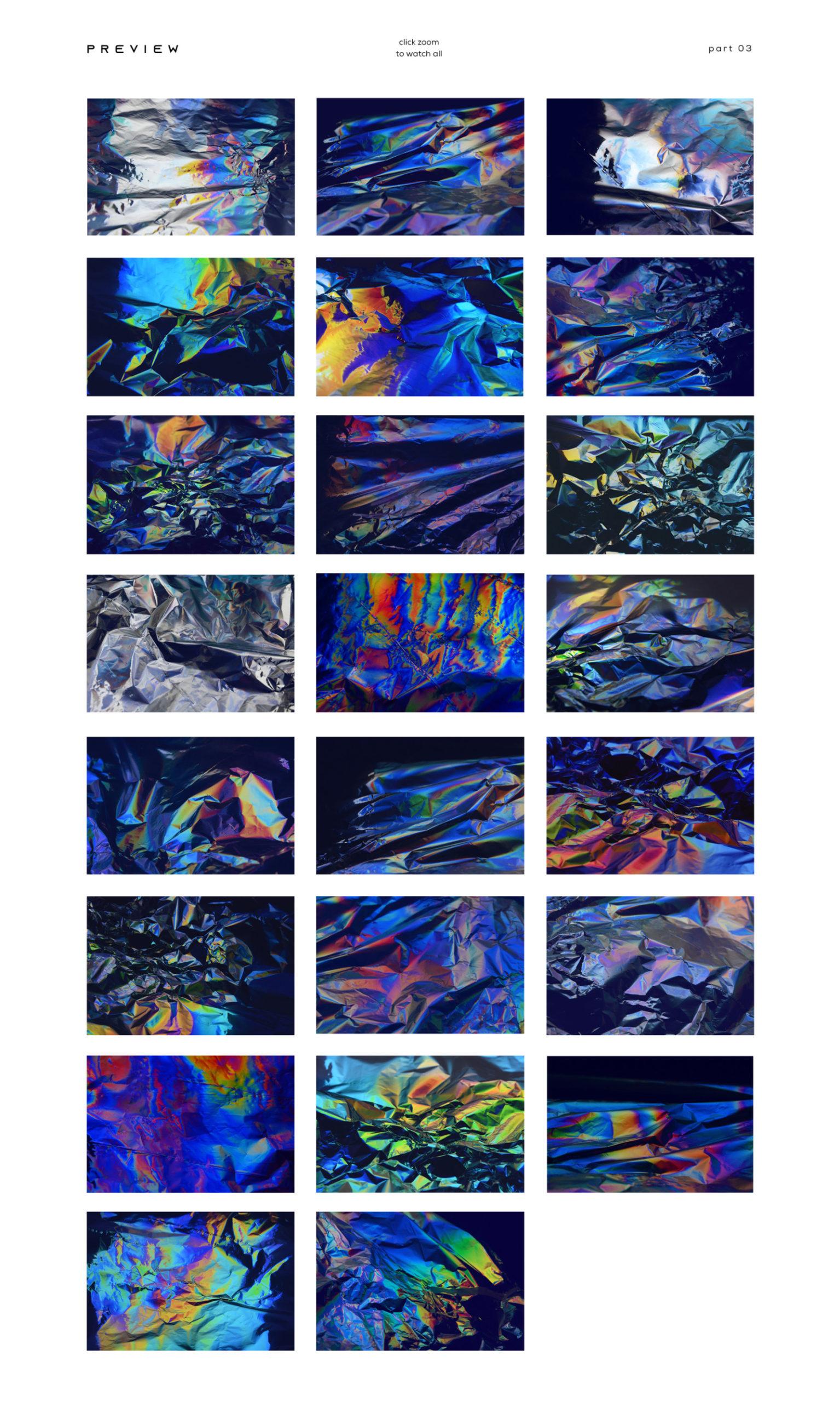 [淘宝购买] 80款潮流全息渐变虹彩金属箔纸纹理海报设计背景图片素材 Crumbled – 80 Foil Textures插图4
