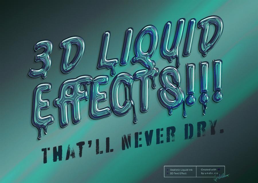 10款金色质感液体3D文本效果PS样机模板素材 Brilliant 3D Liquid Effects插图11