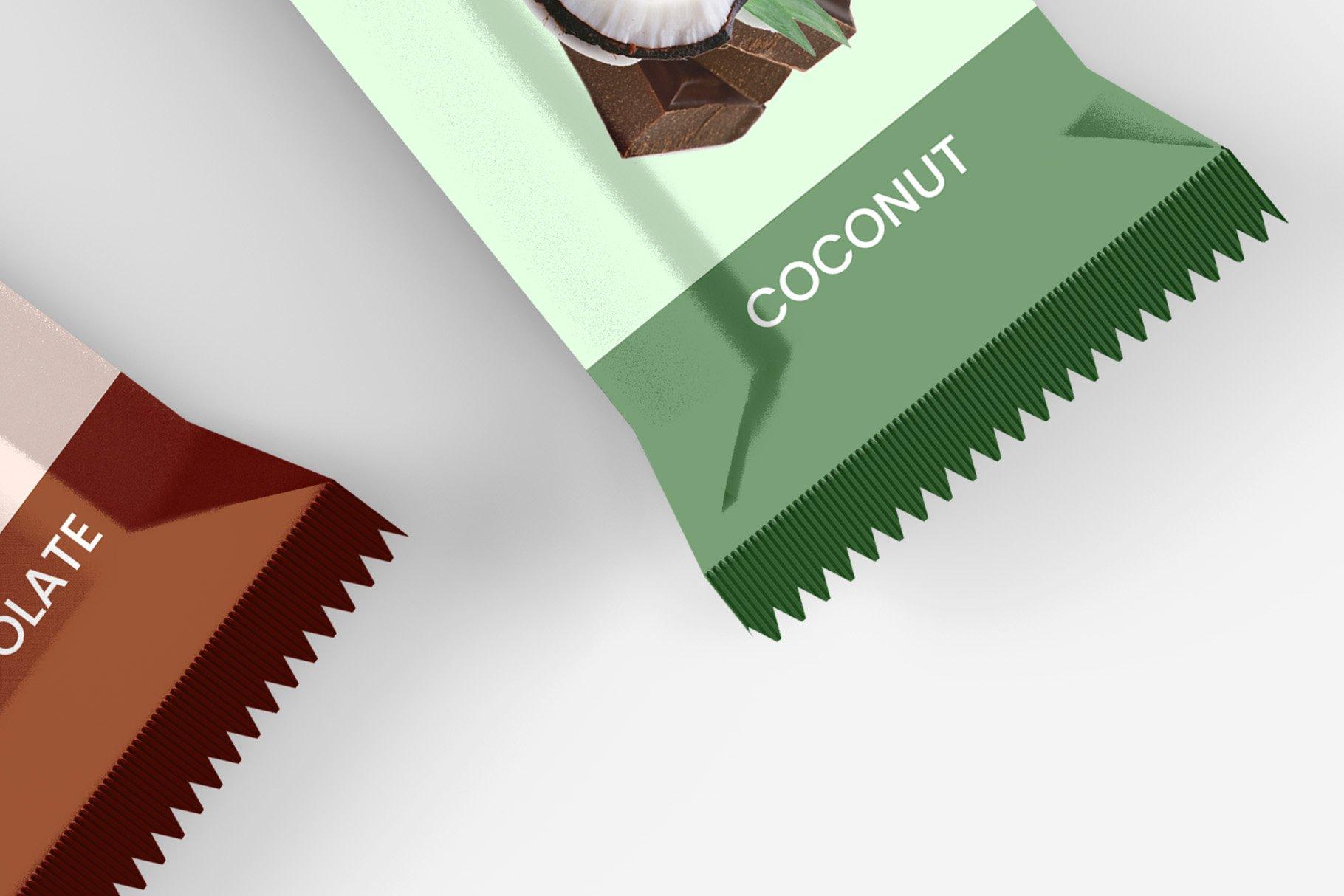 9款零食小吃塑料包装袋设计展示贴图样机 Snack Protein Bar Mockup – 9 Views插图12