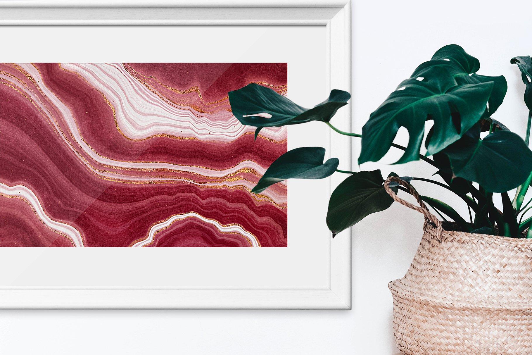 10款抽象奢华红色玛瑙石金箔纸纹理背景图片设计素材 Gold Veined Red Agate Textures插图10