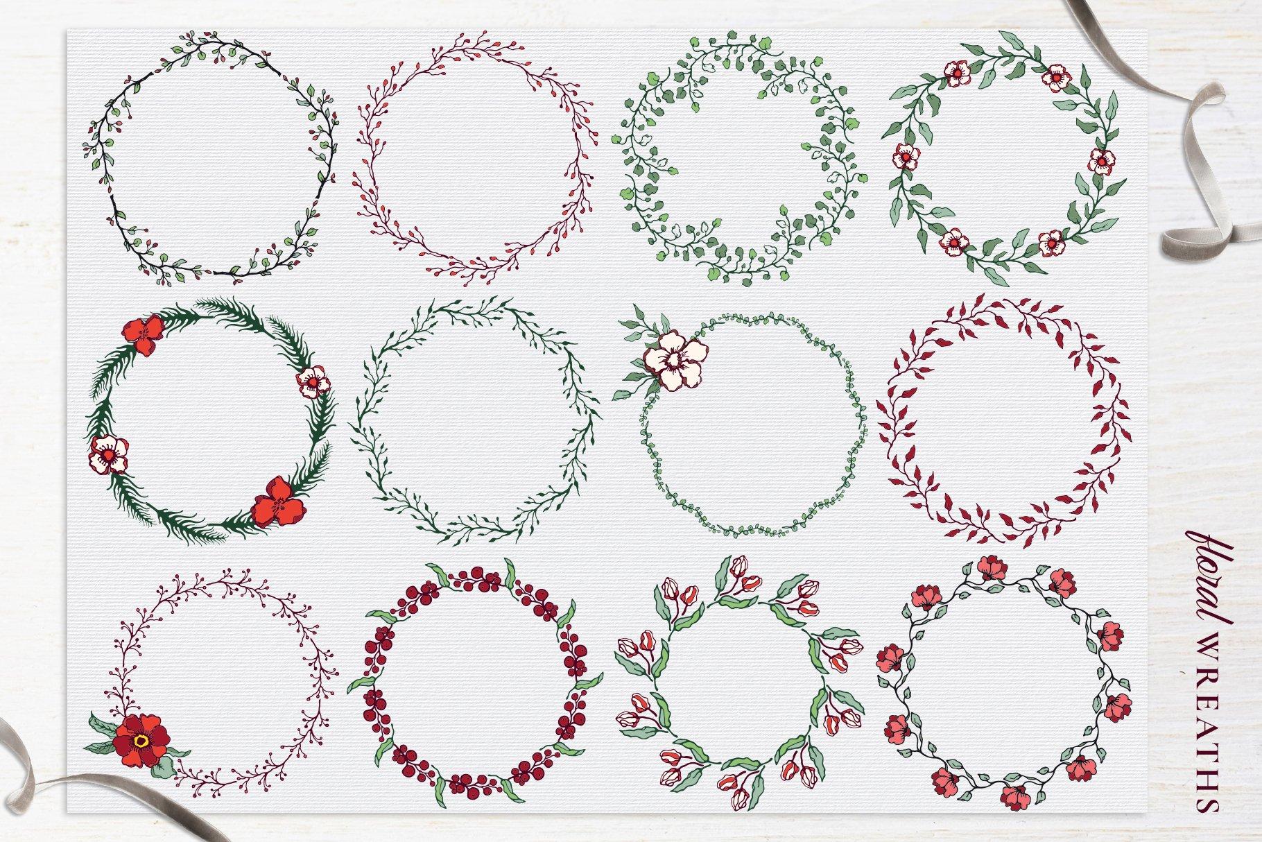 150多款时尚优雅花卉框架抽象形状手绘插画设计素材 Winter Floral Patterns & Elements插图12
