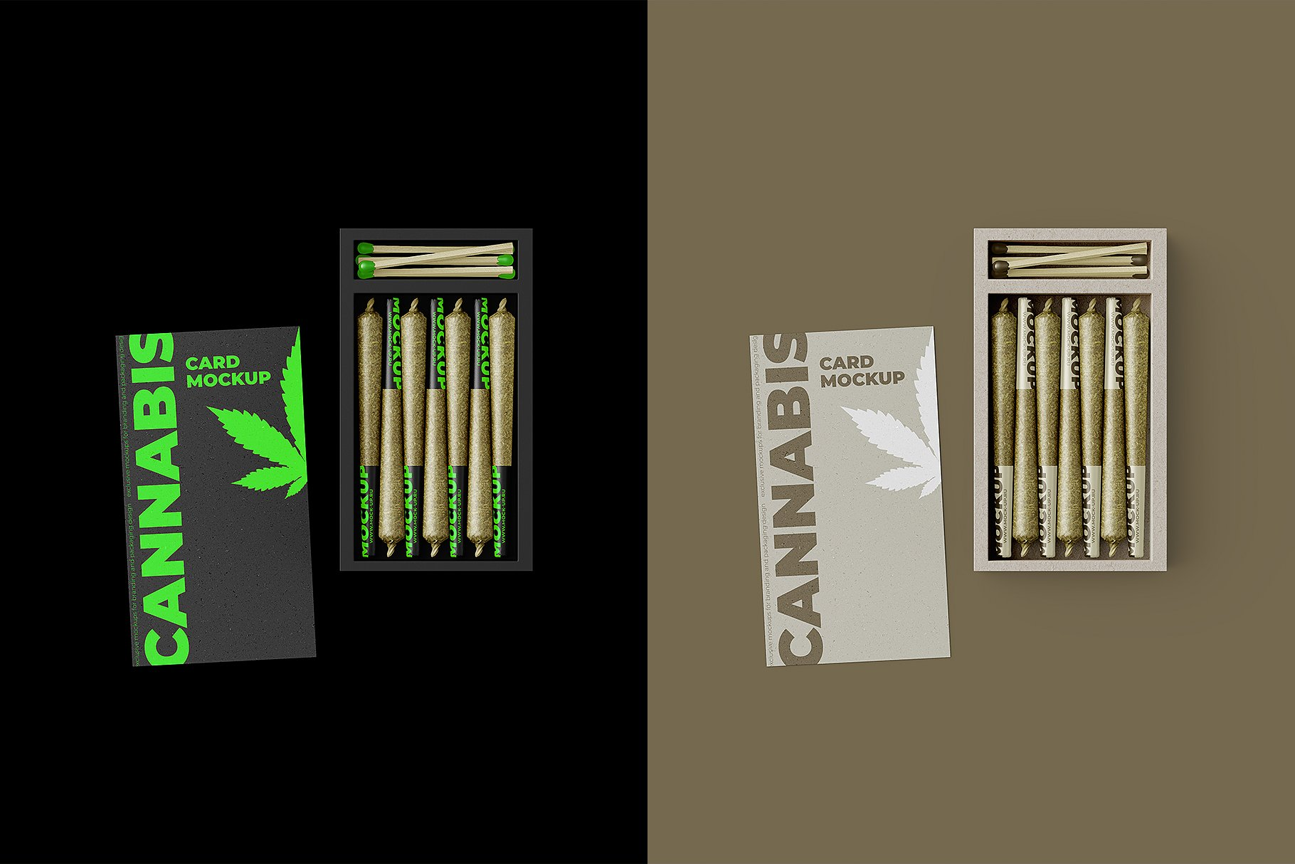 烟草香烟雪茄包装纸盒设计展示贴图样机 Weed Joint Packaging Mockup插图12
