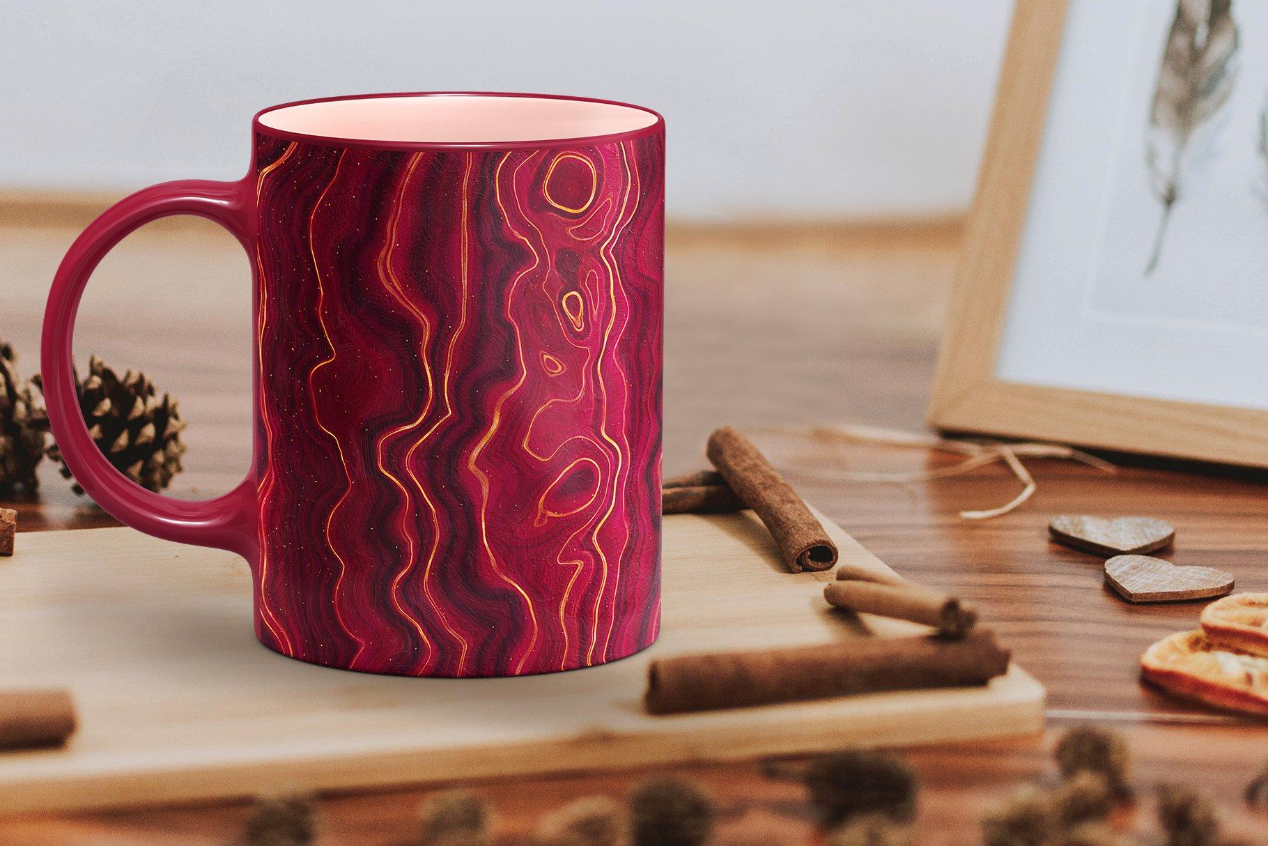 10款抽象奢华红色玛瑙石金箔纸纹理背景图片设计素材 Gold Veined Red Agate Textures插图11