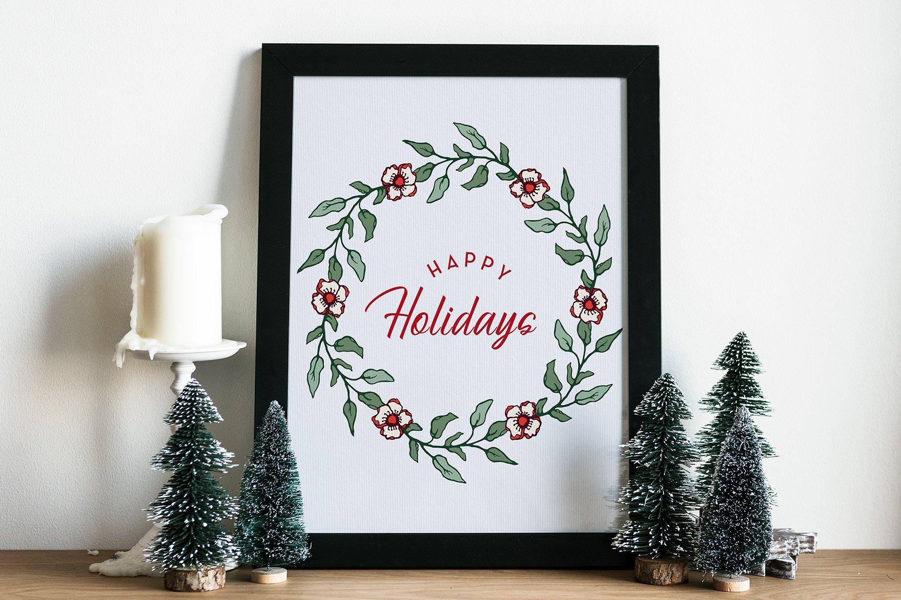 150多款时尚优雅花卉框架抽象形状手绘插画设计素材 Winter Floral Patterns & Elements插图13