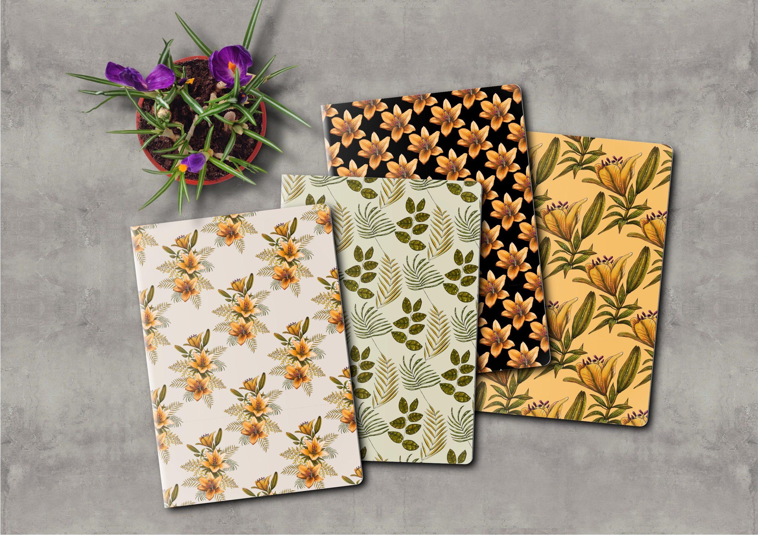 橙色无缝隙百合花手绘水彩画图片设计素材 Orange Lilies. Patterns and Postcards插图12
