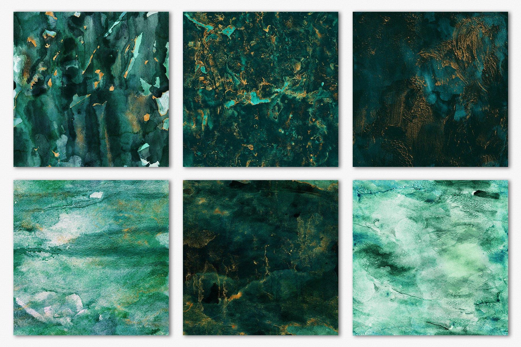 30款奢华翡翠墨绿流金水彩抽象艺术装饰背景底纹图片素材 Seamless Watercolor Backgrounds插图12