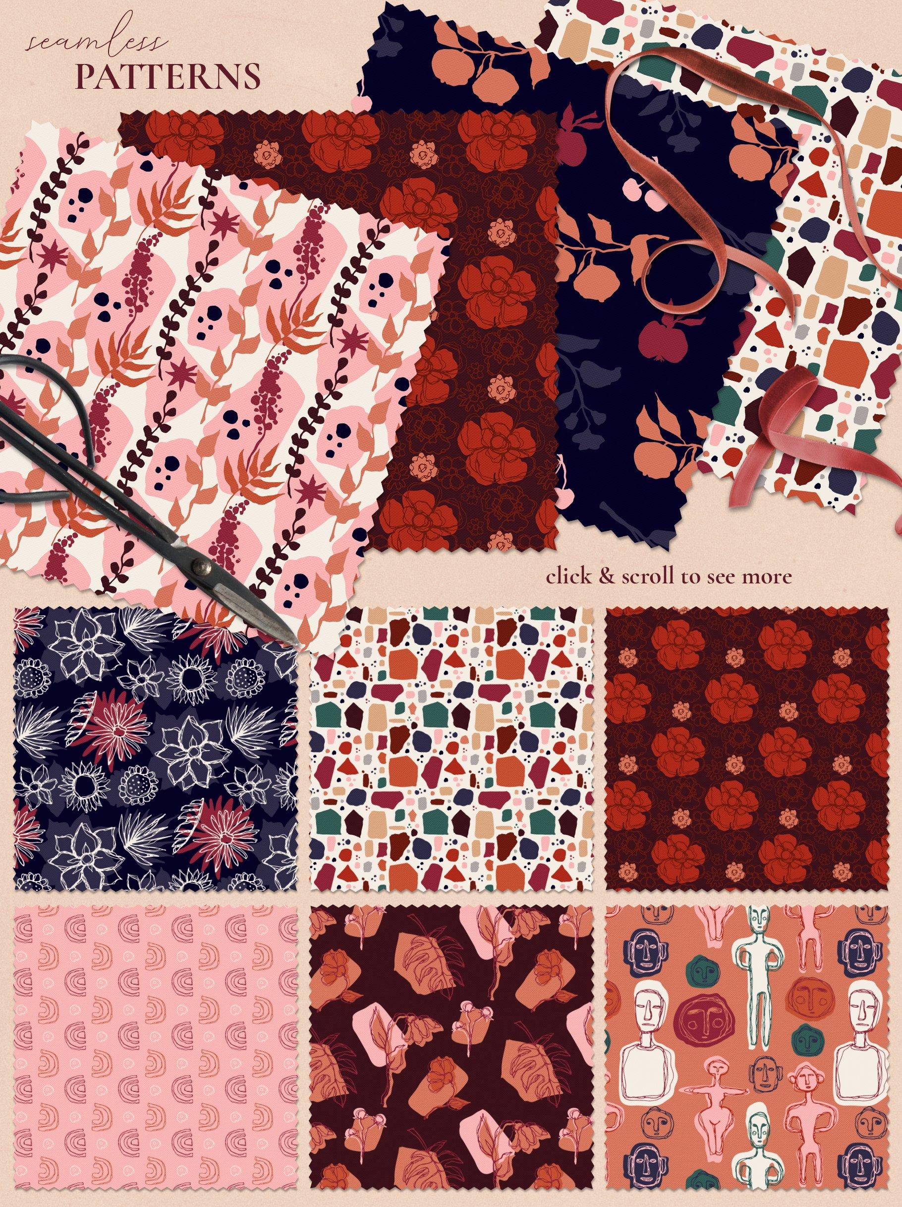 [单独购买] 现代优雅抽象花卉图形艺术线条金色箔纸设计套件 Abstract Line Art Design Kit插图14