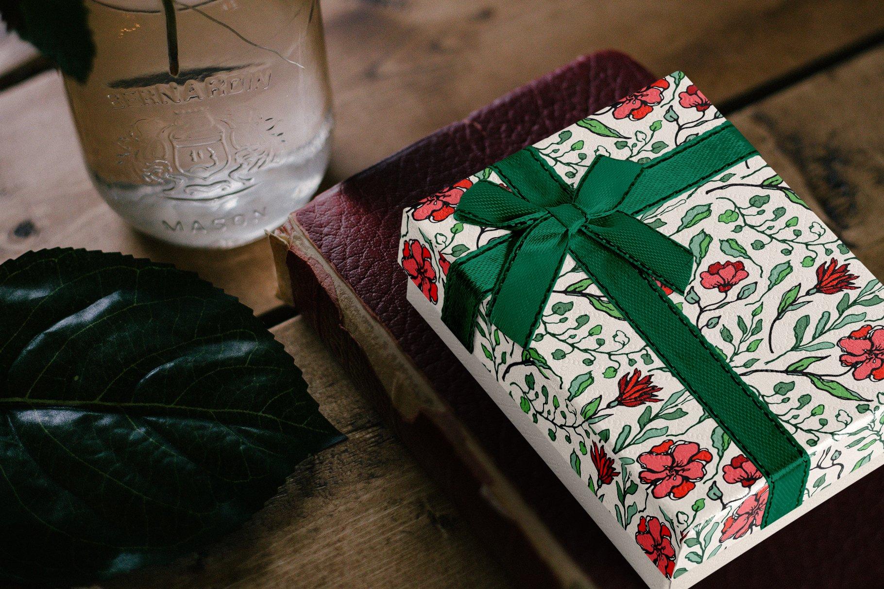 150多款时尚优雅花卉框架抽象形状手绘插画设计素材 Winter Floral Patterns & Elements插图14
