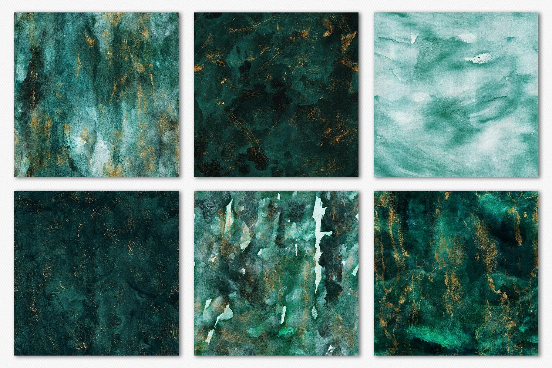 30款奢华翡翠墨绿流金水彩抽象艺术装饰背景底纹图片素材 Seamless Watercolor Backgrounds插图13