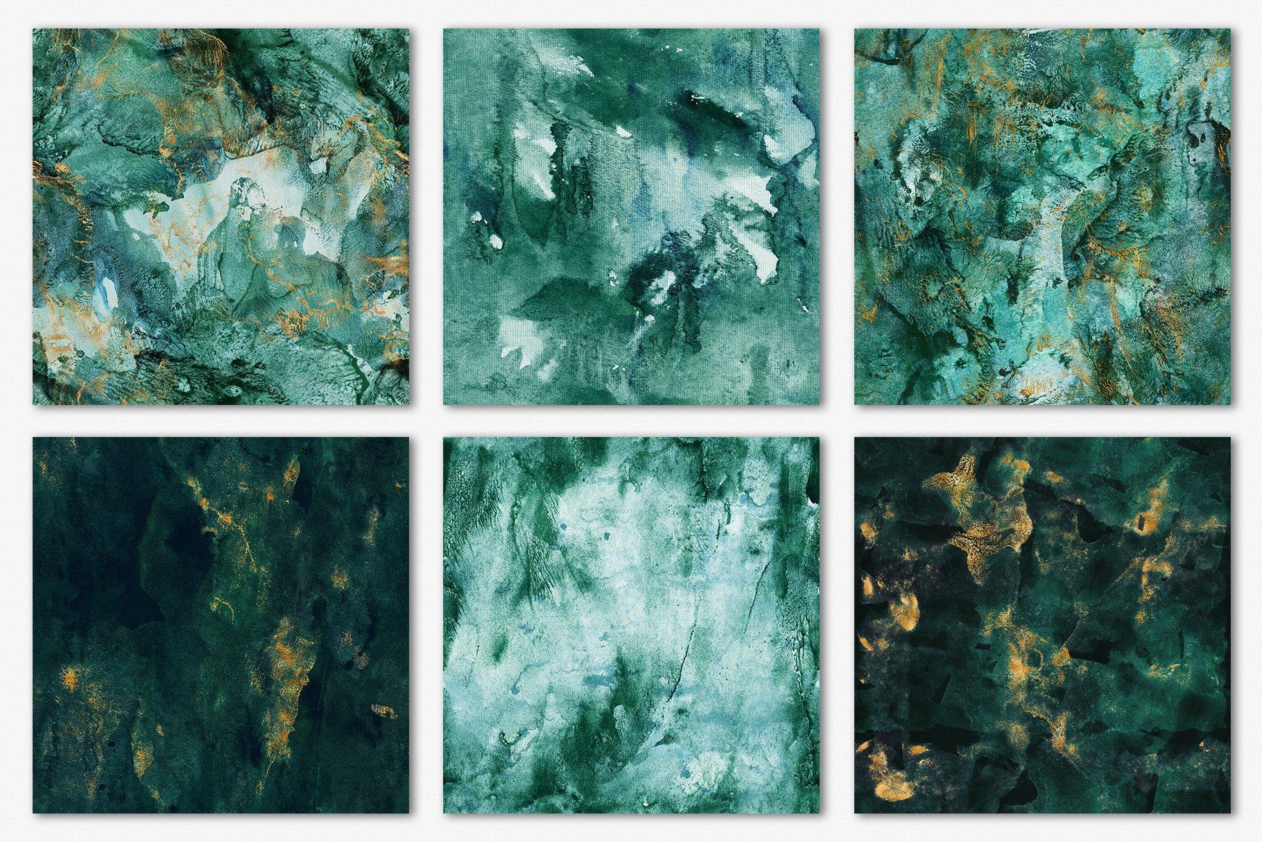 30款奢华翡翠墨绿流金水彩抽象艺术装饰背景底纹图片素材 Seamless Watercolor Backgrounds插图14
