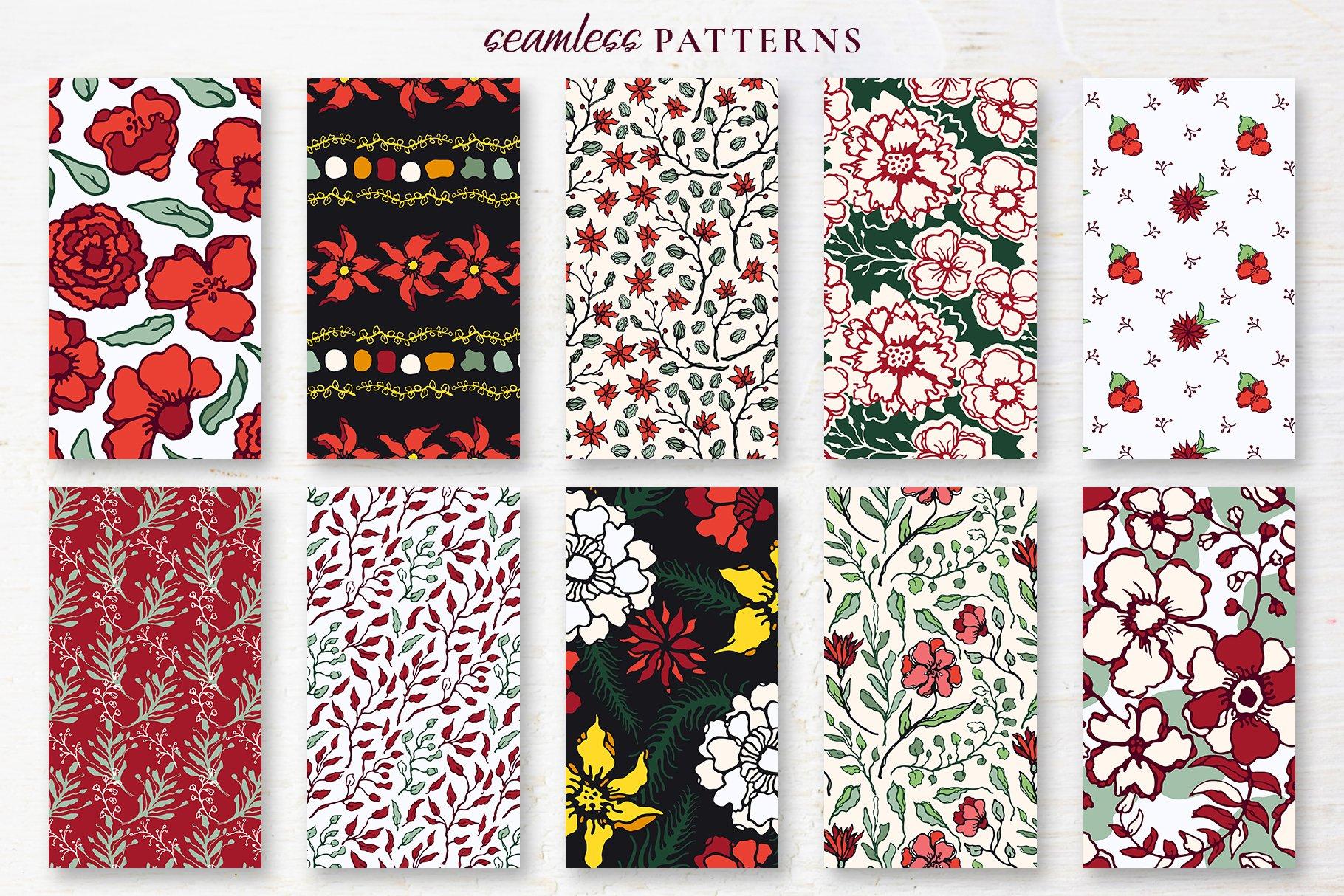 150多款时尚优雅花卉框架抽象形状手绘插画设计素材 Winter Floral Patterns & Elements插图16