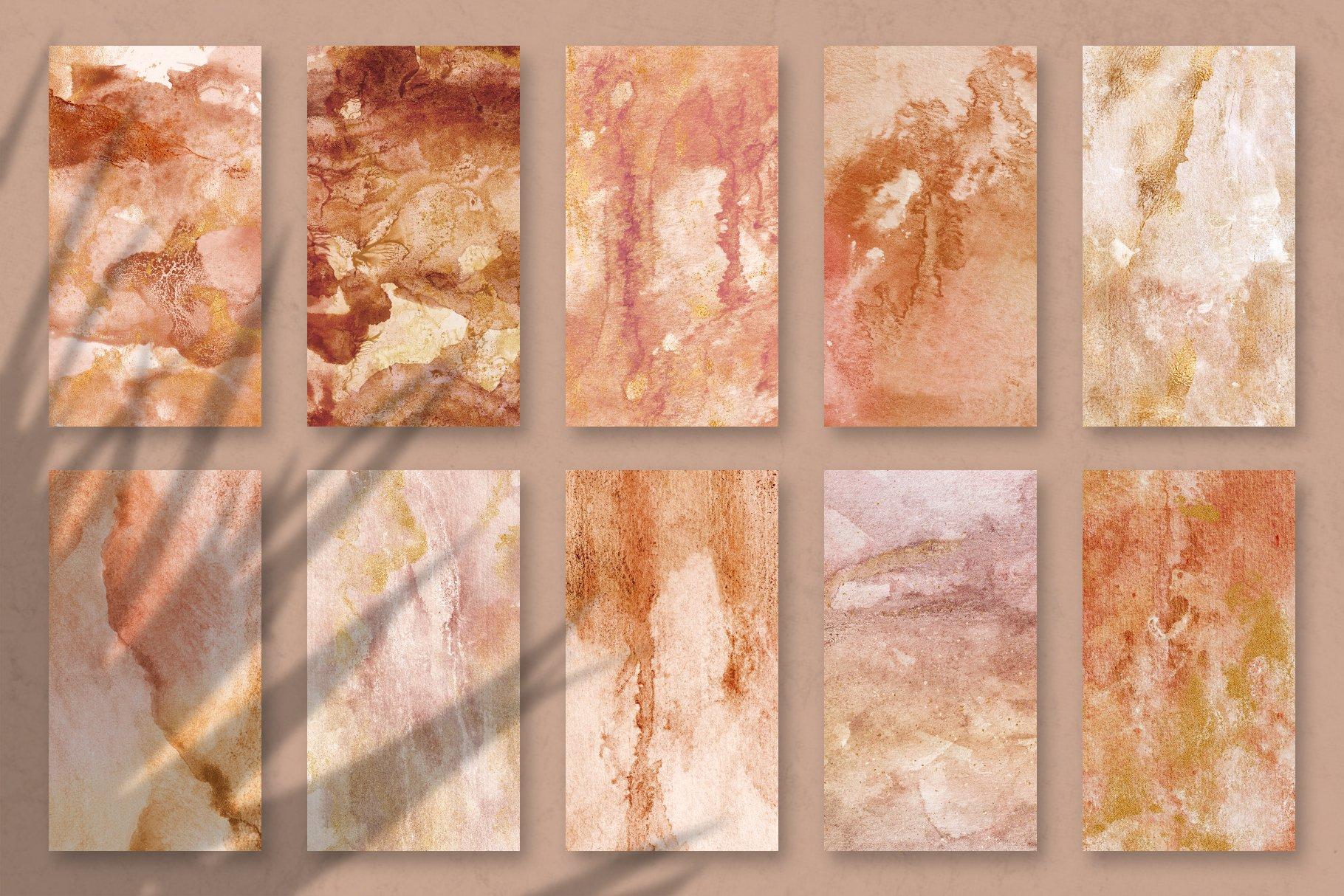 [单独购买] 20款抽象奢华橙色水彩纹理海报设计背景图片素材 20 Seamless Watercolor Textures插图15