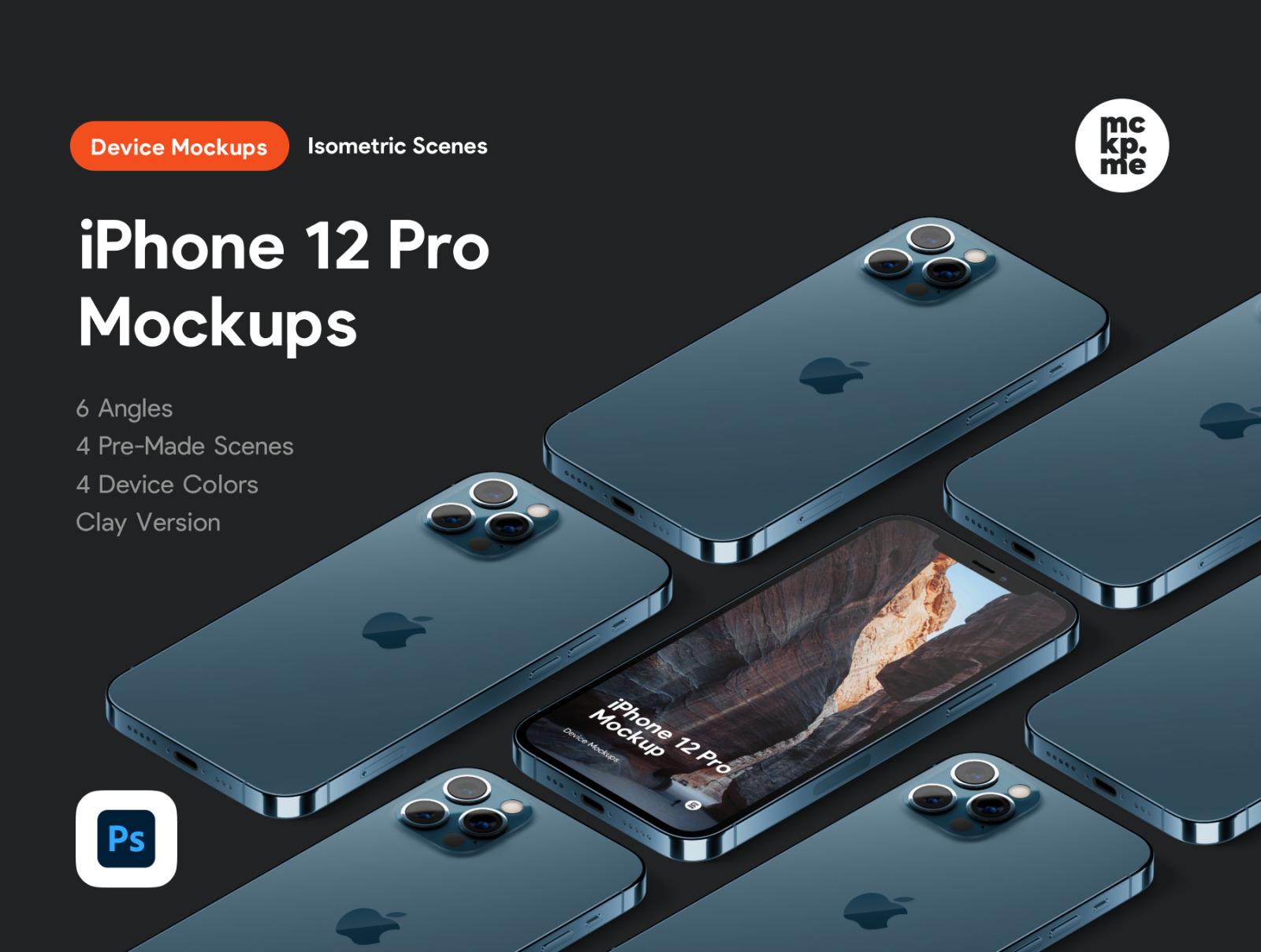时尚等距苹果iPhone 12 Pro手机软件APP界面设计展示样机合集 iPhone 12 Pro Isometric Pack插图