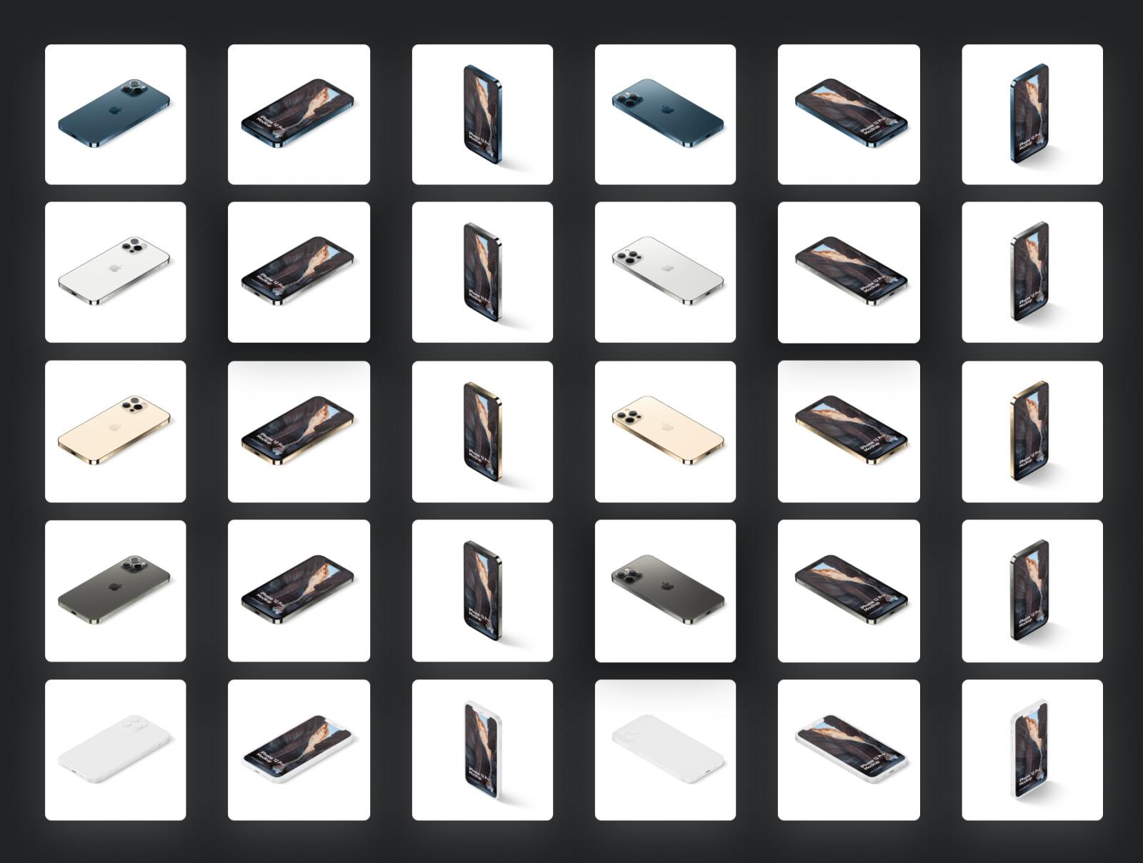 时尚等距苹果iPhone 12 Pro手机软件APP界面设计展示样机合集 iPhone 12 Pro Isometric Pack插图1