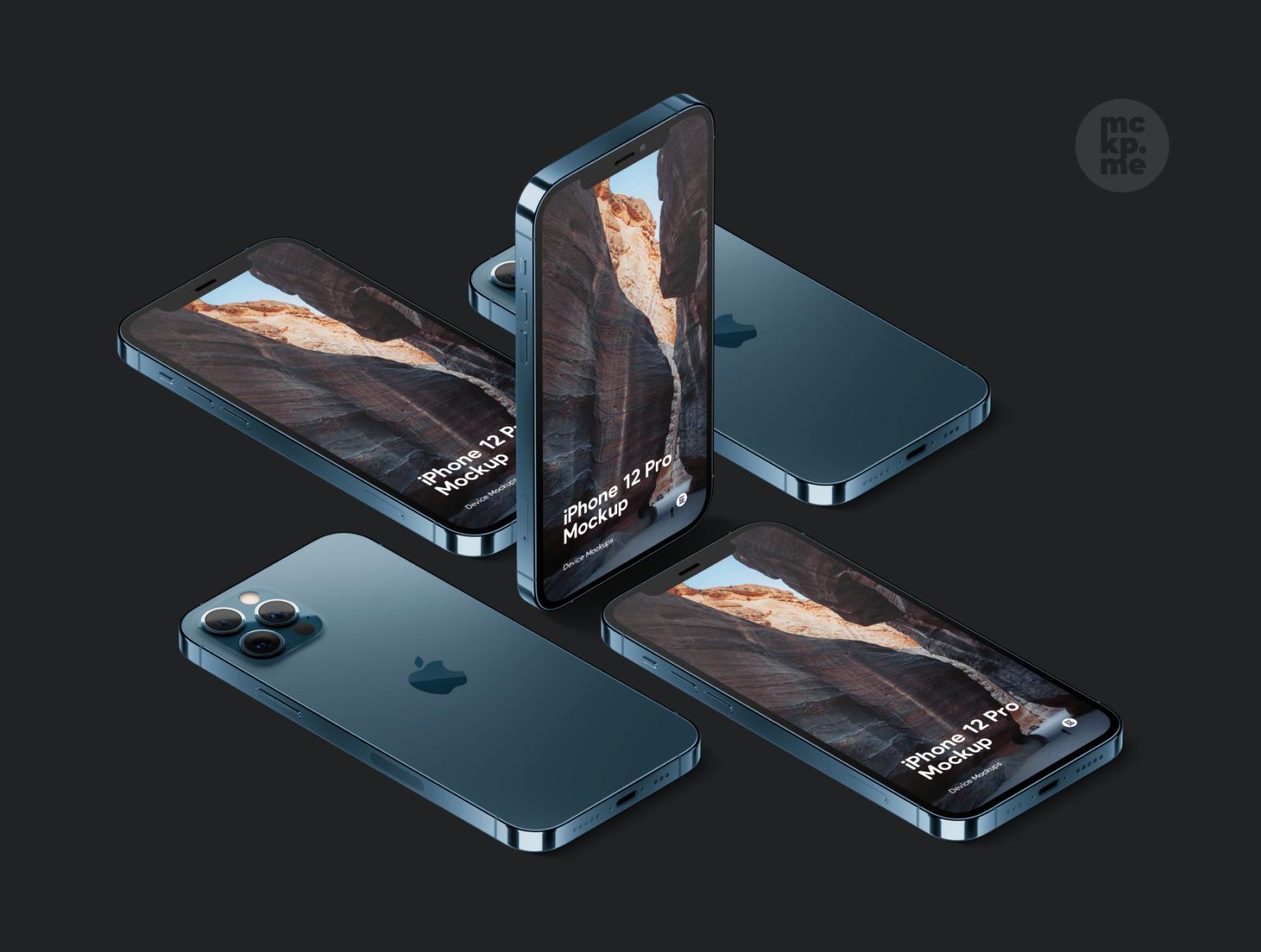 时尚等距苹果iPhone 12 Pro手机软件APP界面设计展示样机合集 iPhone 12 Pro Isometric Pack插图4