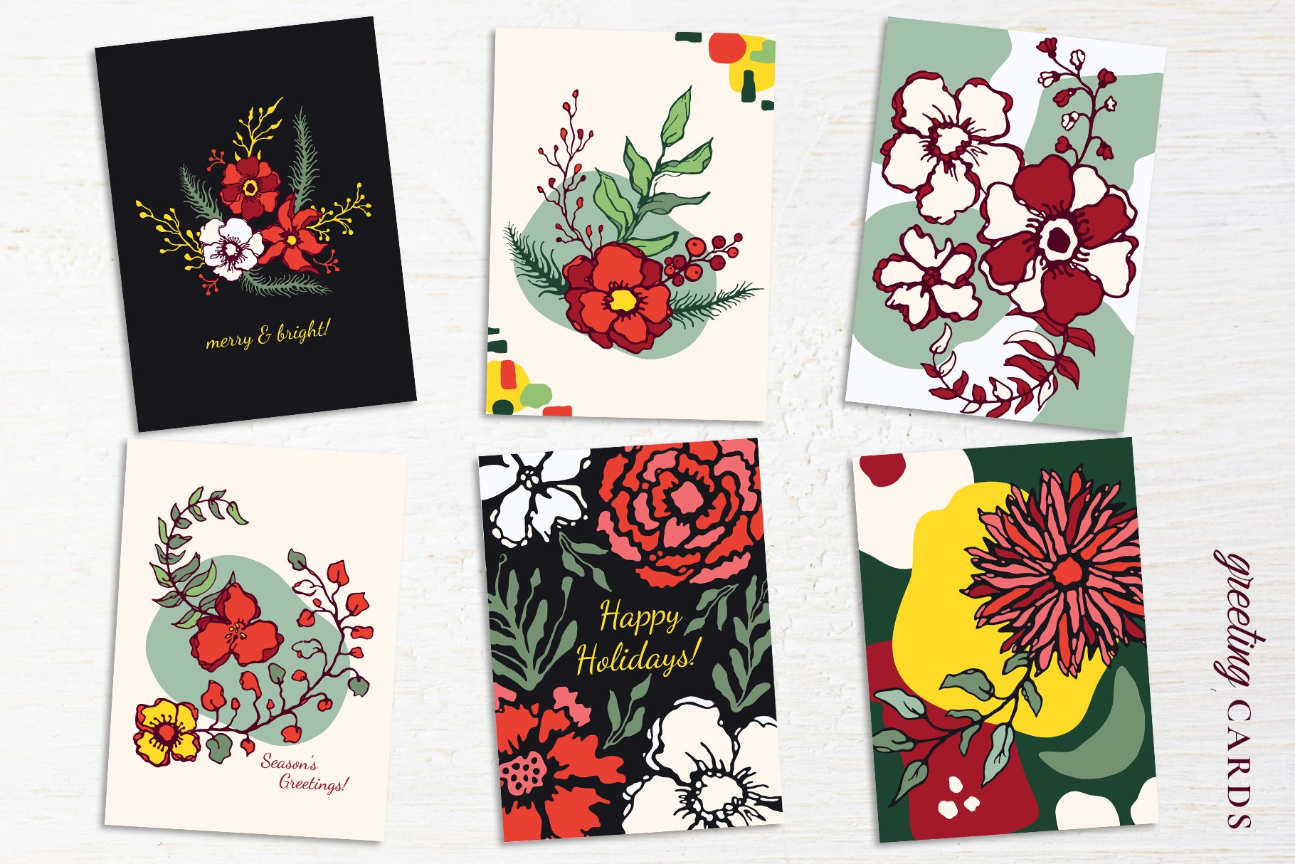 150多款时尚优雅花卉框架抽象形状手绘插画设计素材 Winter Floral Patterns & Elements插图18