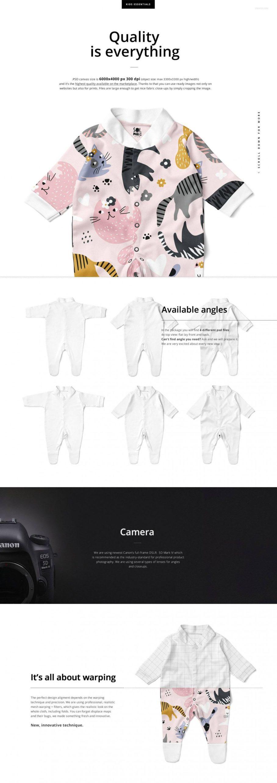 时尚婴儿连衣睡衣印花图案设计PS展示贴图样机合集 Babygrow Sleepsuit Mockup Set插图1