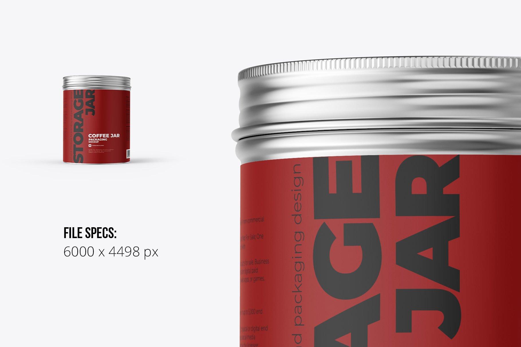 前视图食品茶叶金属罐设计展示PSD样机模板 Metallic Storage Closed Jar Front插图1