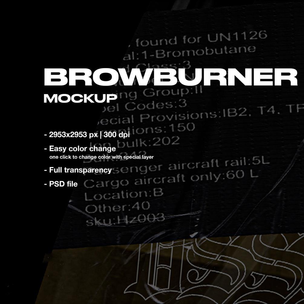 潮流复古喷雾瓶标签贴纸设计展示PS贴图样机模板 VSSSART – Browburner Spray Mockup插图1