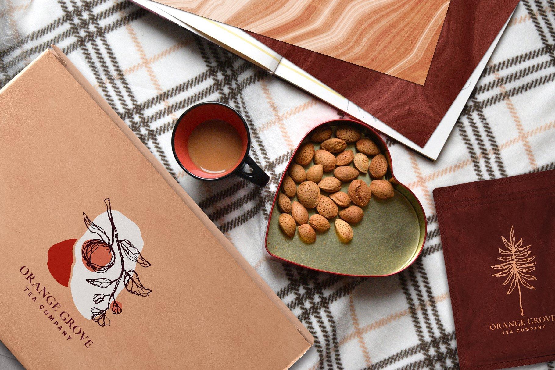 [单独购买] 现代优雅抽象花卉图形艺术线条金色箔纸设计套件 Abstract Line Art Design Kit插图1