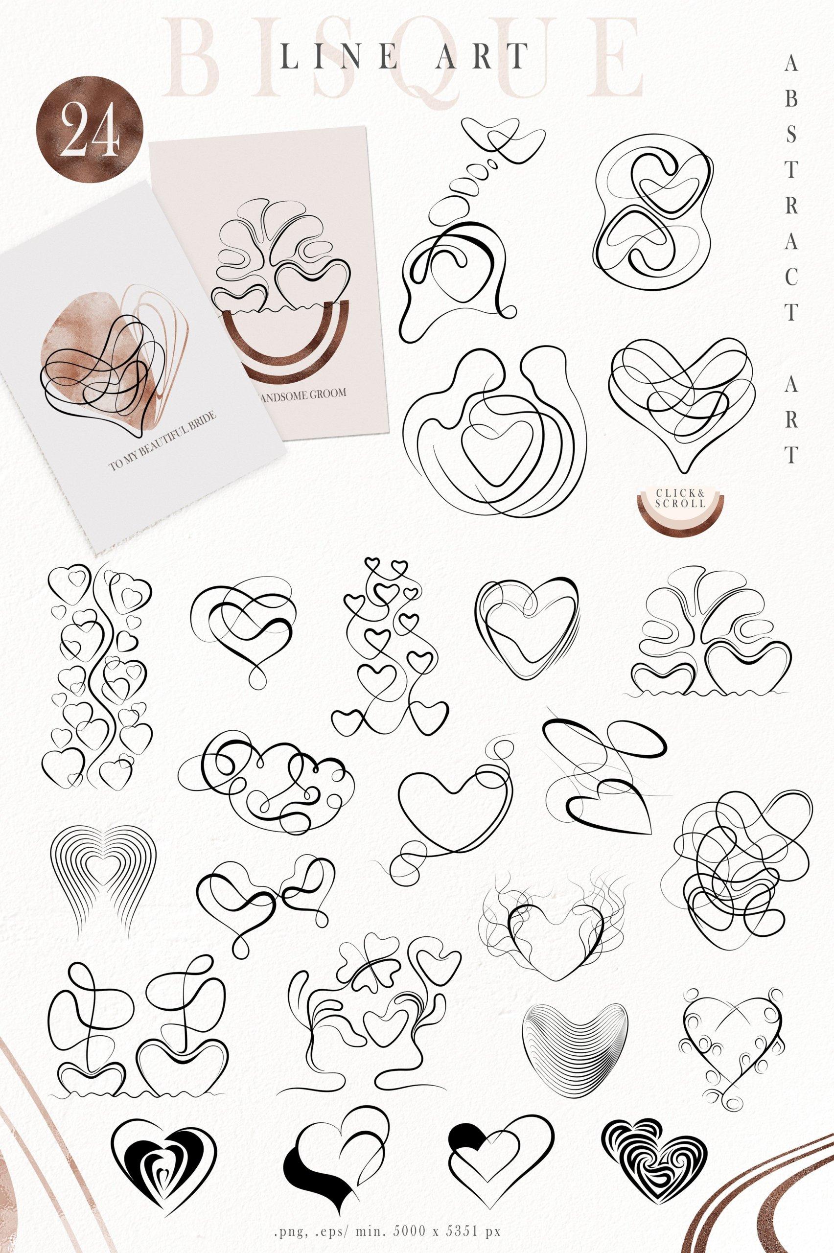 抽象巧克力奶油线条图形符号字母PNG透明背景图片设计素材 Abstract Shapes, Line Art, Alphabet插图1