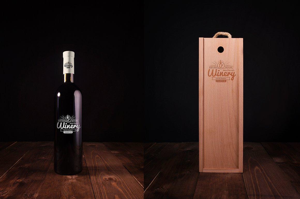 6款高品质葡萄酒木质盒子设计展示贴图样机 Wine Bottle And Box Mockups插图1