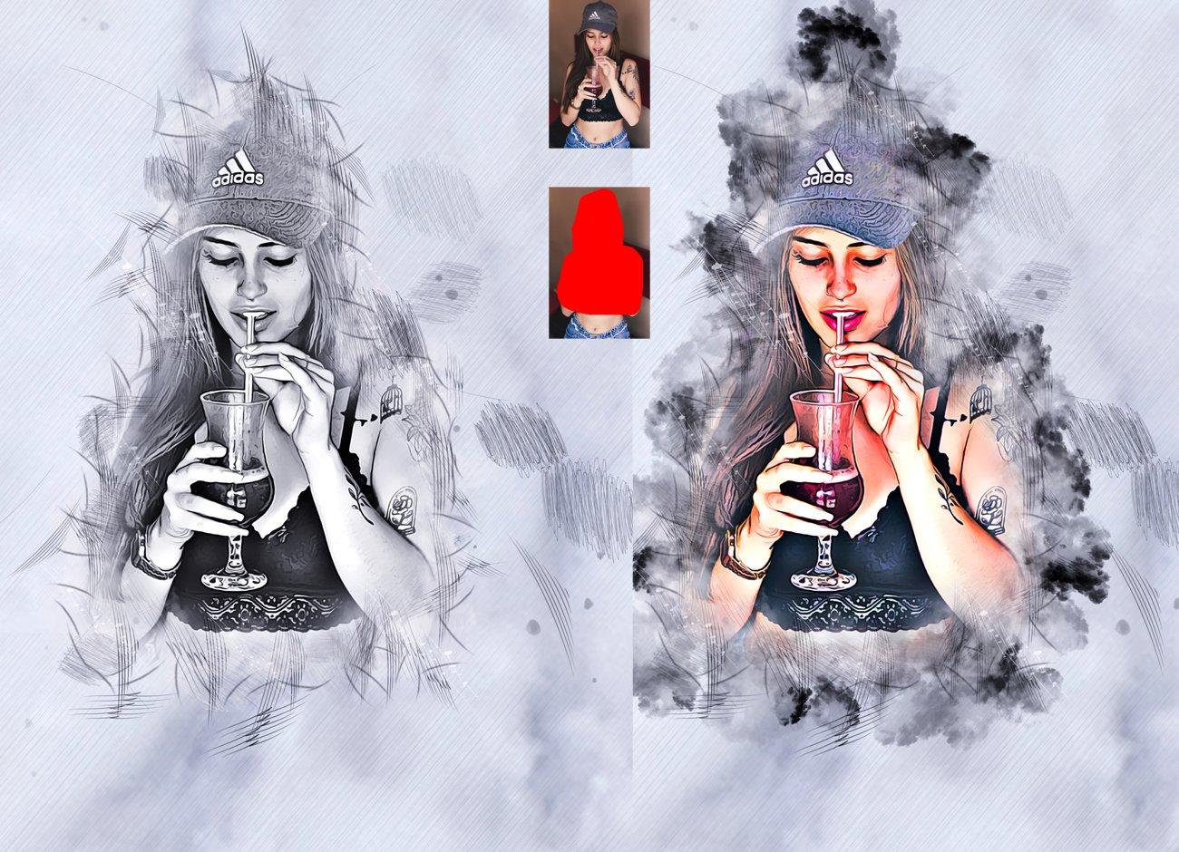 水墨素描效果照片处理特效PS动作模板 Ink Sketch Art Photoshop Action插图2