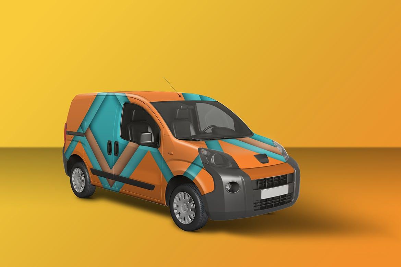 密封货车面包车车身广告设计展示样机 Car Mockup [Vol3]插图1